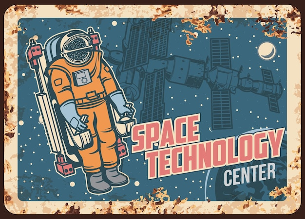 Astronauta di piastra metallica arrugginita del centro di tecnologia spaziale