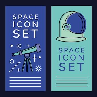 Telescopio spaziale e casco da astronauta in cornici etichette dell'universo cosmo e tema futuristico