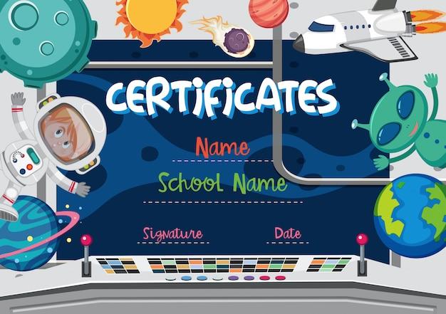Concetto di certificato tema spaziale