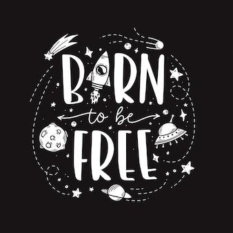 Slogan di tema spaziale doodle