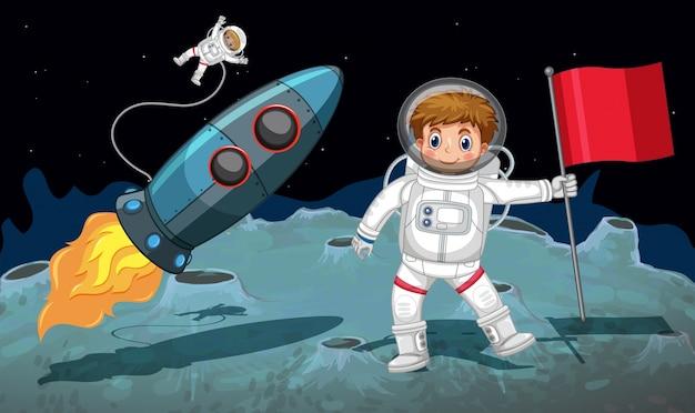 Tema dello spazio con gli astronauti che lavorano sulla luna