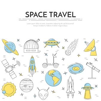 Banner di linea di viaggio spaziale. set di elementi di pianeti, navi spaziali, ufo, satellite, spyglass e altri pittogrammi cosmo. concetto per sito web, carta, infografica, pubblicità. illustrazione vettoriale