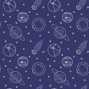 Icone della linea di viaggio spaziale. elementi di pianeti, asteroidi, sole, terra. modello senza soluzione di continuità il concetto per il sito web, carta, infographic, annuncia l'illustrazione di vettore del tessuto del sito web dell'involucro della carta da parati