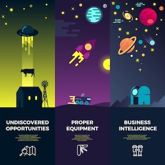 Bandiere di vettore di spazio con icone piatte di ufo astronomico
