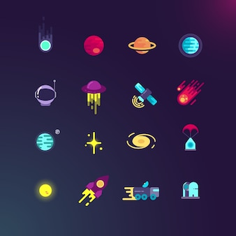 Set di icone piane di spazio e vettoriale