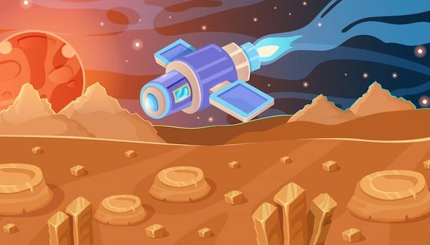 Concetto interessante di spazio vettoriale. astronave, stelle, pietre e pianeta rosso.