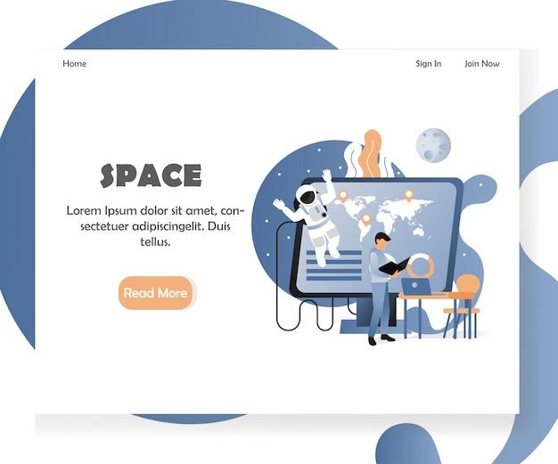 Modello dell'insegna della pagina di atterraggio del sito web di vettore di spazio