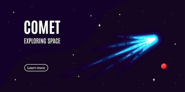 Spazio con la cometa. banner di ricerca spaziale, esplorando lo spazio esterno.