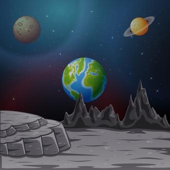 Spazio con i pianeti e l'illustrazione del cielo