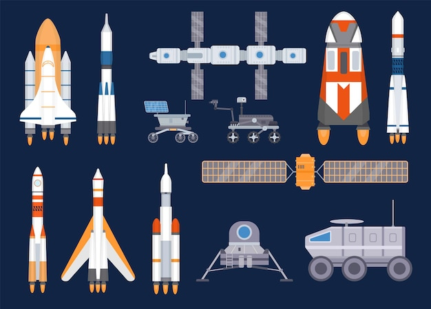 Tecnologia dei veicoli spaziali. satelliti, razzi, stazioni spaziali, navi, navette, rover lunari e marziani. insieme di vettore dell'attrezzatura di esplorazione dell'universo. illustrazione razzo e nave moonwalker