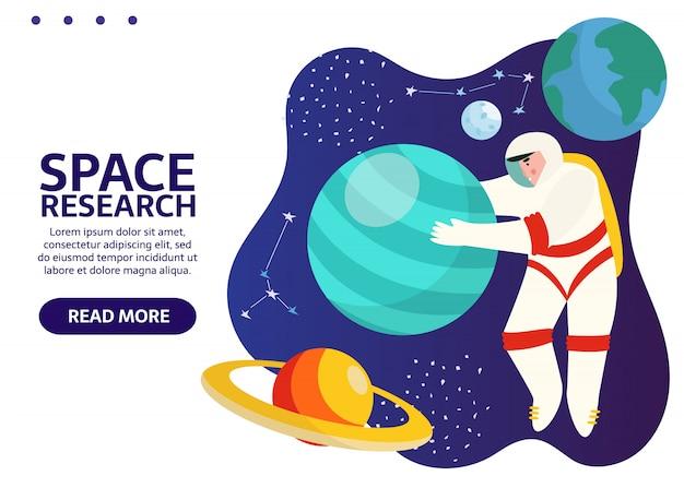Spaceman nello spazio esterno con stelle, luna, razzi, asteroidi, costellazioni. astronauta fuori dall'astronave che esplora l'universo e la galassia. banner con il posto per il tuo testo.