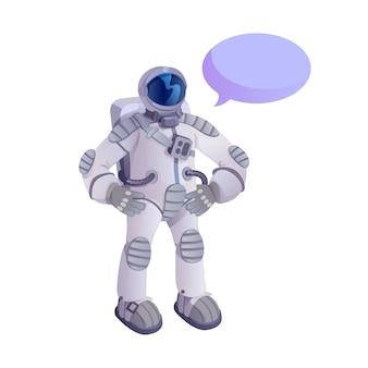 Spaceman in tuta spaziale cartone animato piatto. esploratore dell'universo.