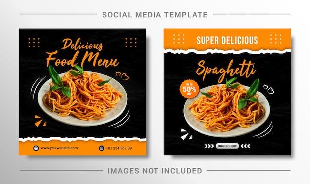 Modello di banner per social media post instagram con menu di cibo per spaghetti