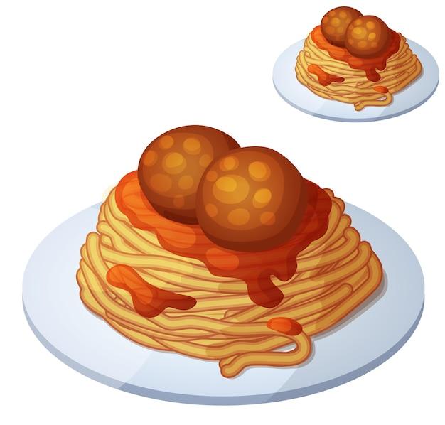 Icona di vettore del fumetto di spaghetti e polpette di carne