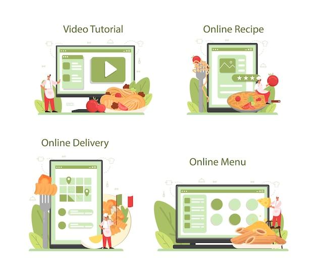Servizio online di spaghetti o pasta o set di piattaforme. cibo italiano nel piatto. cena deliziosa, piatto di carne. menu online, ricetta, consegna, video tutorial.