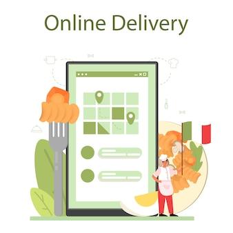 Servizio o piattaforma online di spaghetti o pasta