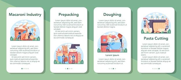 Set di banner per applicazioni mobili per l'industria della produzione di spaghetti o pasta. illustrazione vettoriale piatta in stile cartone animato