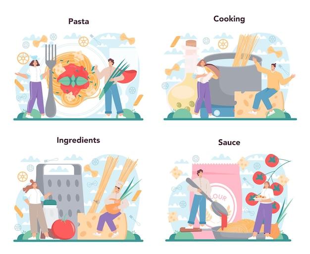 Spaghetti o set di pasta. cibo italiano nel piatto. cena deliziosa