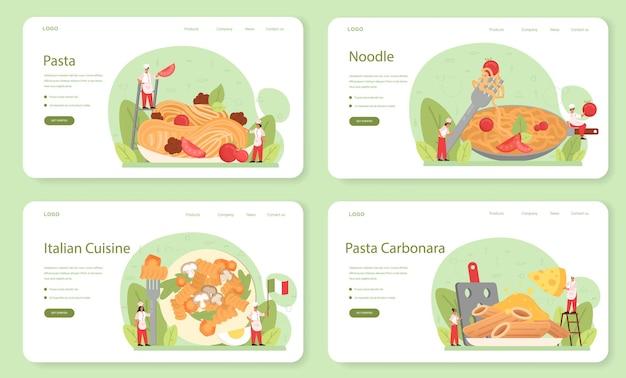 Banner web di spaghetti o pasta o set di pagine di destinazione