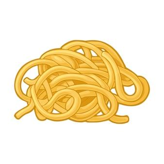 Spaghetti. illustrazione di colore di vettore isolato su priorità bassa bianca. elemento di design disegnato a mano