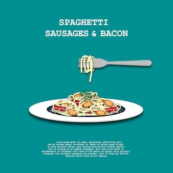 Spaghetti con stile di arte di carta di pancetta e salsiccia fresca per sfondo.