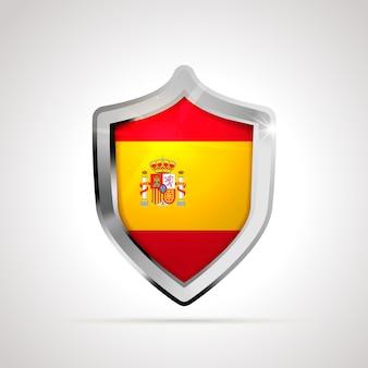 Bandiera della spagna proiettata come uno scudo lucido