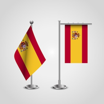 Bandiera della spagna con stand set vettoriale