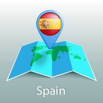 Mappa del mondo di bandiera della spagna nel pin con il nome del paese su sfondo grigio