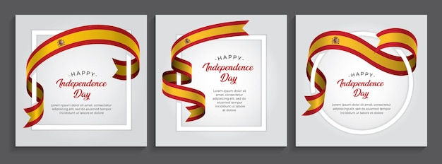Bandiera della spagna felice giorno dell'indipendenza, illustrazione