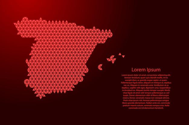 Mappa della spagna dal concetto rosso dei cubi