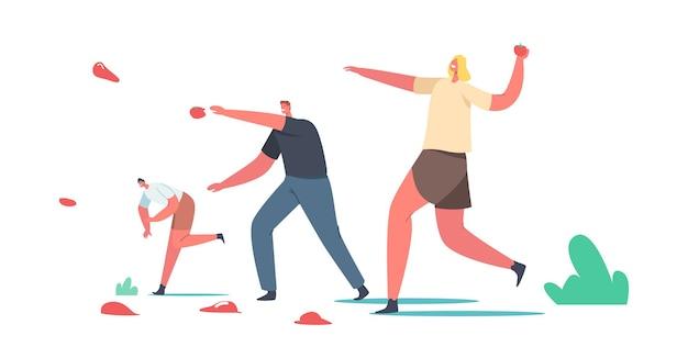 Spagna tradizionale raccolto la tomatina festival celebrazione concetto, pomodoro holiday entertainment. personaggi maschili e femminili felici gettano la verdura a mangiare l'altro. cartoon persone illustrazione vettoriale