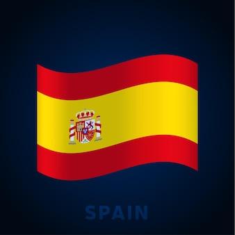Bandiera di vettore dell'onda della spagna. sventolando i colori ufficiali nazionali e la proporzione della bandiera. illustrazione vettoriale.
