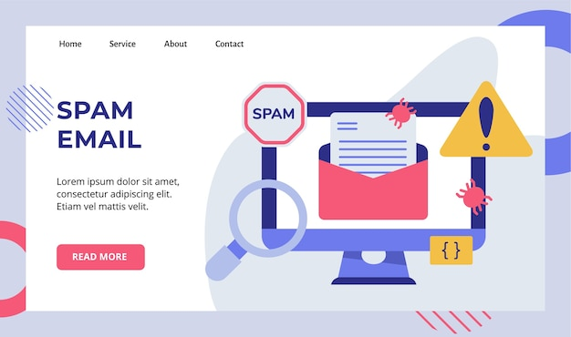 Bug di messaggi di posta elettronica di spam sul display del monitor del computer campagna per la pagina di destinazione della home page del sito web