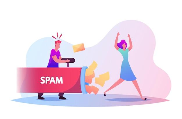 Illustrazione di spazzatura di informazioni e spam. tiro di un personaggio maschile minuscolo con buste di carta che scorre da un tubo enorme nella donna che fugge dall'attacco