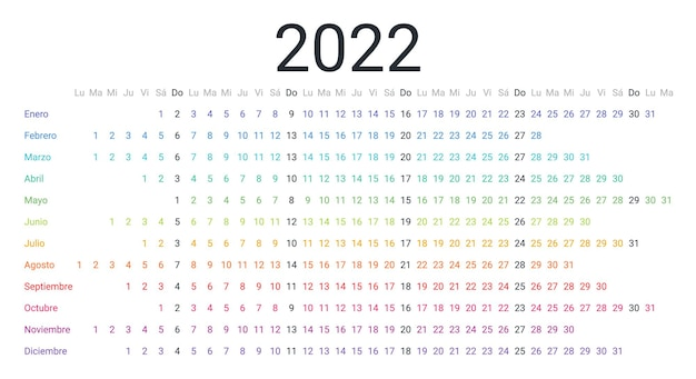 Pianificatore orizzontale lineare del calendario spagnolo 2022 per l'anno la settimana inizia lunedì