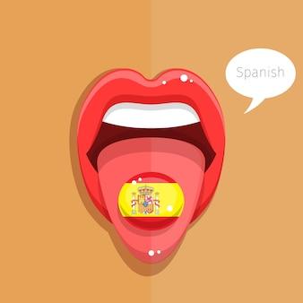 Concetto di lingua spagnola. lingua di lingua spagnola bocca aperta con la bandiera della spagna, volto di donna. design piatto