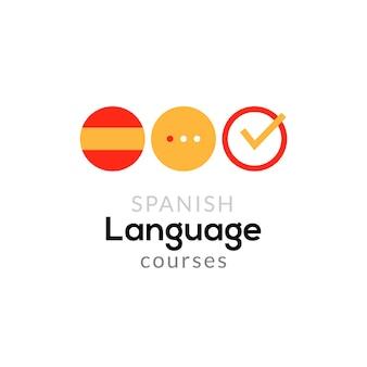Concetto di corso del logo della scuola di lingua spagnola. lo spagnolo vettoriale parla fluentemente il design del corso.