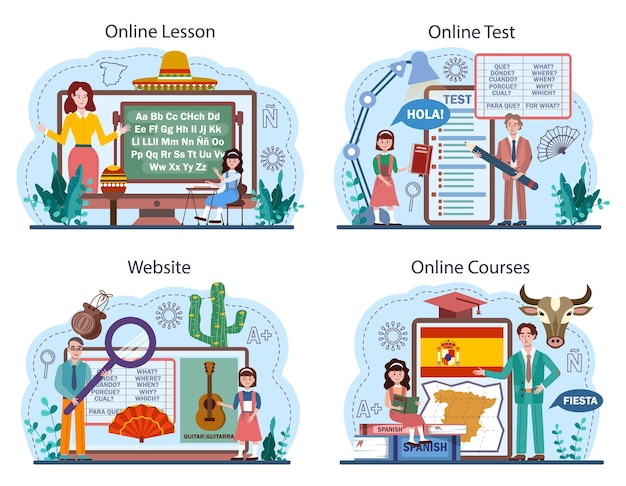 Servizio online di apprendimento dello spagnolo o set di piattaforme. scuola di lingue