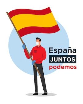 Uomo spagnolo con bandiera spagnola che incoraggia le persone contro il virus corona
