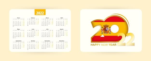 Calendario tascabile spagnolo 2022. felice nuova icona anno 2022 con bandiera della spagna.