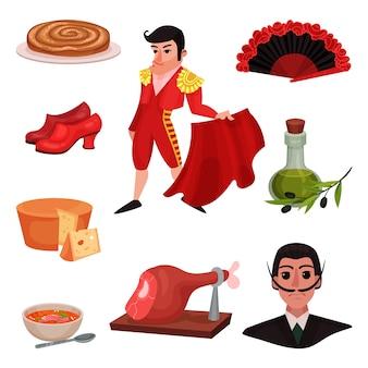 Oggetti tradizionali spagnoli e personaggi famosi. illustrazione su sfondo bianco.