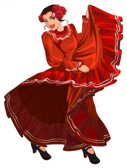 Donna spagnola in abito rosso danza