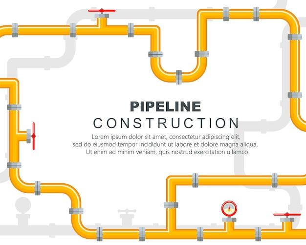 Pezzi di ricambio per il gasdotto su sfondo giallo