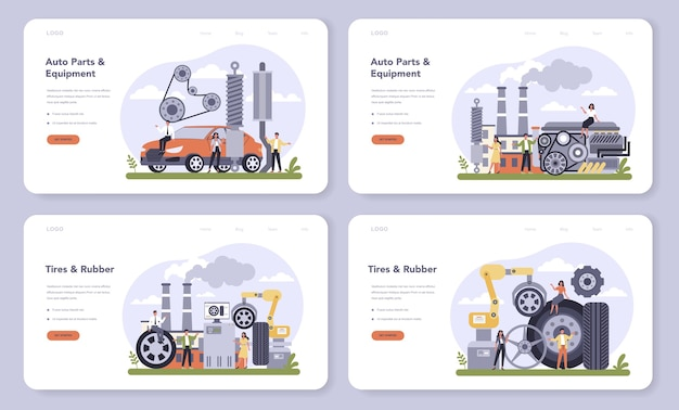 Set di banner web o pagina di destinazione per l'industria di produzione di pezzi di ricambio