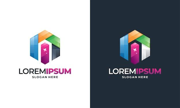 Sparkle home logo per l'industria delle pulizie, illustrazione vettoriale del servizio di pulizia