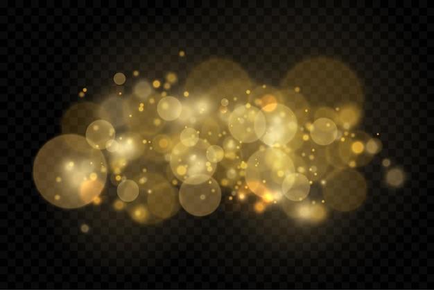 Scintillanti particelle di polvere d'oro bokeh natale scintilla effetto luce scintilla scintille gialle stella