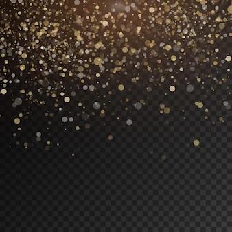 Le scintillanti particelle di polvere magica d'oro scintillano brillano luci di polvere gialla scintille e stelle