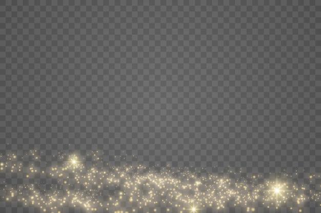 Particelle di polvere magica dorata scintillante su sfondo trasparente, scintilla.