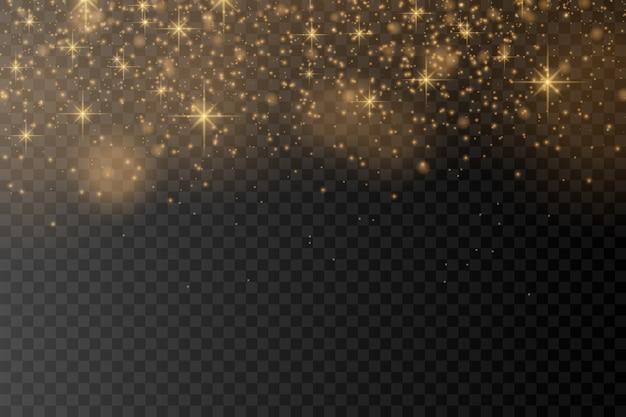 Particelle di polvere magica scintillante su sfondo trasparente.