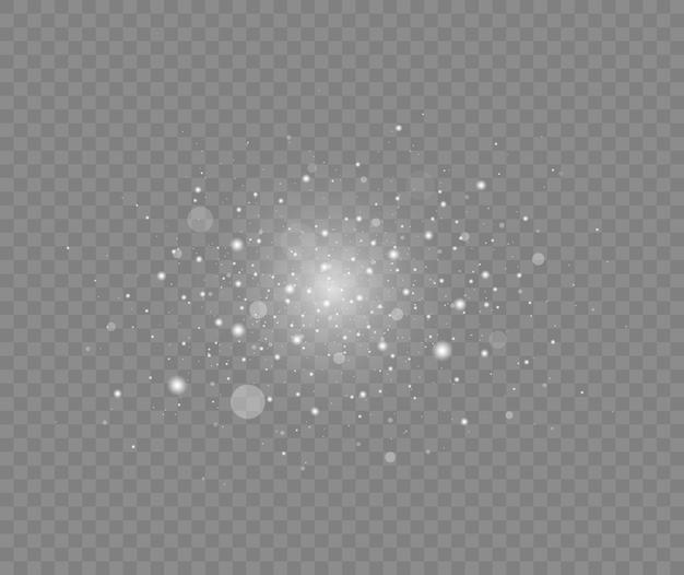 Scintillanti particelle di polvere magica su trasparente